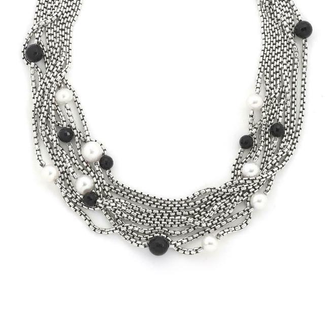 Item - #60083 Box Onyx Pearls 925 Silver 18k Gold 8 Strand Chain Necklace