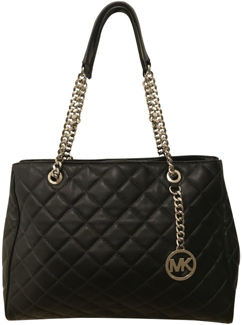 Item - Susannah Large Quilted Satchel Black Silver Leather Tote