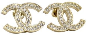 Chanel CHANEL Gold Large Classic Moscova Crystal Stud