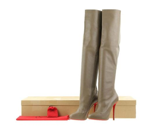 Christian Louboutin Slouchy Zipper Elastic Hidden Platform Tall Brown Boots Image 11
