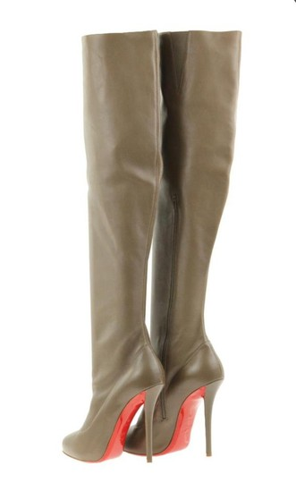 Christian Louboutin Slouchy Zipper Elastic Hidden Platform Tall Brown Boots Image 2