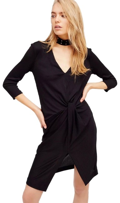 Item - Black Ribbed Knotted Midi Mid-length Night Out Dress Size 4 (S)