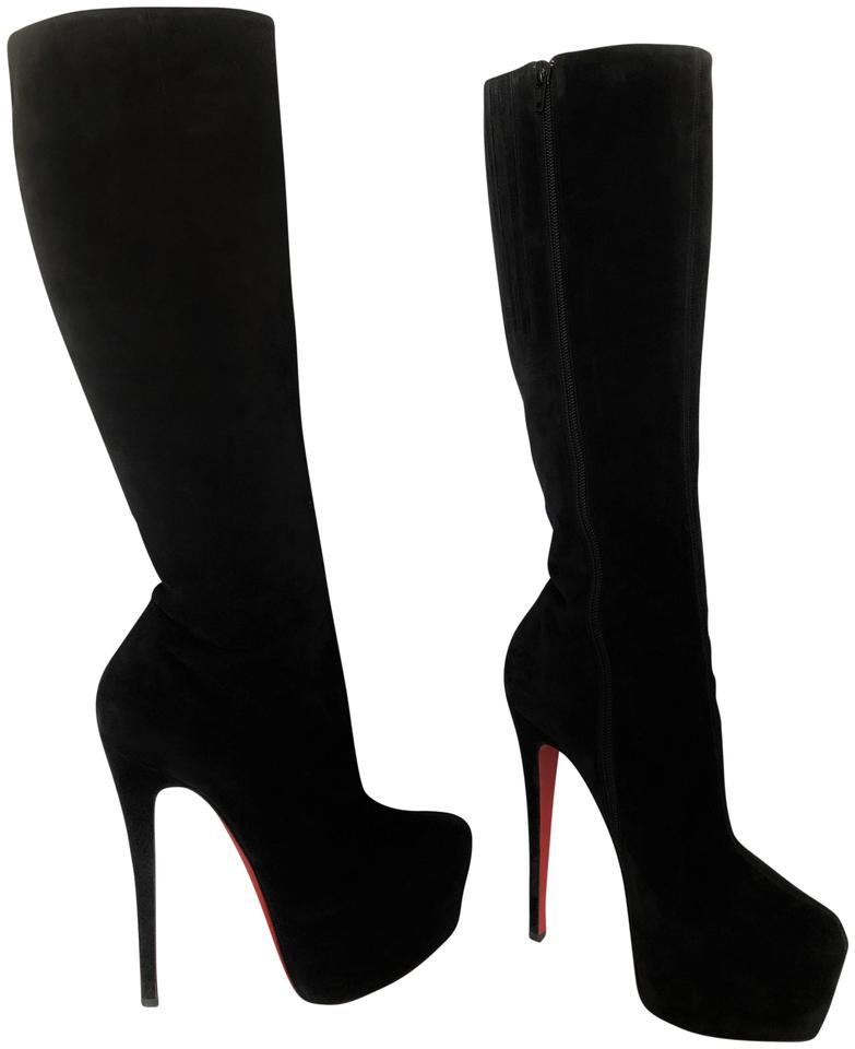 lowest price fd62a 09609 Christian Louboutin Black Lady Daf Platform Knee High 160 Heel Women Red  Sole Suede Toe Italy Boots/Booties Size EU 38.5 (Approx. US 8.5) Regular  (M, ...
