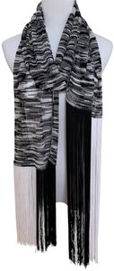 Missoni Black White Marbled Stripe Print Long Iconic Knit Fringed Scarf