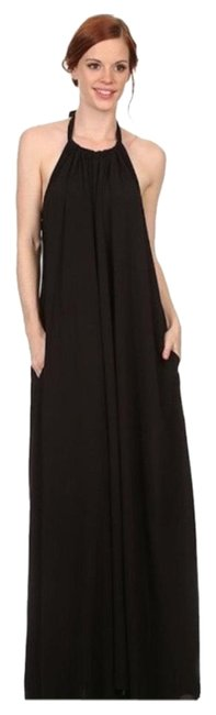 Item - Black Yellow and White Halter Tie Neck Long Casual Maxi Dress Size 6 (S)
