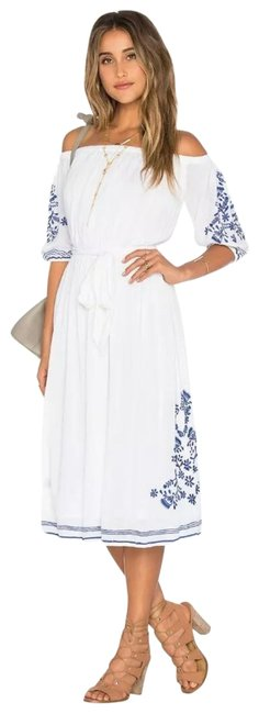 Item - White and Blue Marty Peasant Mid-length Short Casual Dress Size 6 (S)