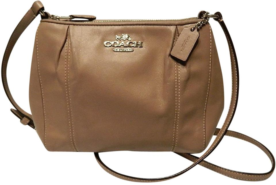 d4c12caf61363 Coach Swingpack Collette Pleated Taupe/ Putty/ Silver Genuine ...