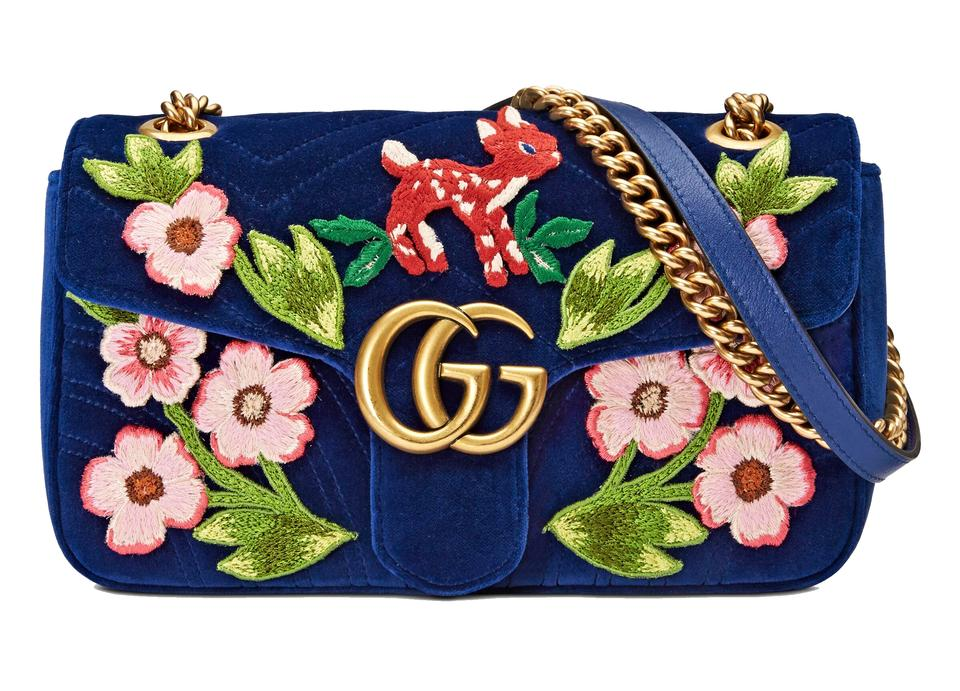 091c42d0e1d3 Gucci Marmont Gg Small Cobalt Velvet Shoulder Bag 23% off retail