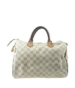 Louis Vuitton White/Blue Coated Canvas Satchel in White/Blue