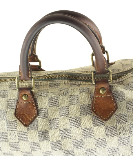 Louis Vuitton White/Blue Coated Canvas Satchel in White/Blue Image 10