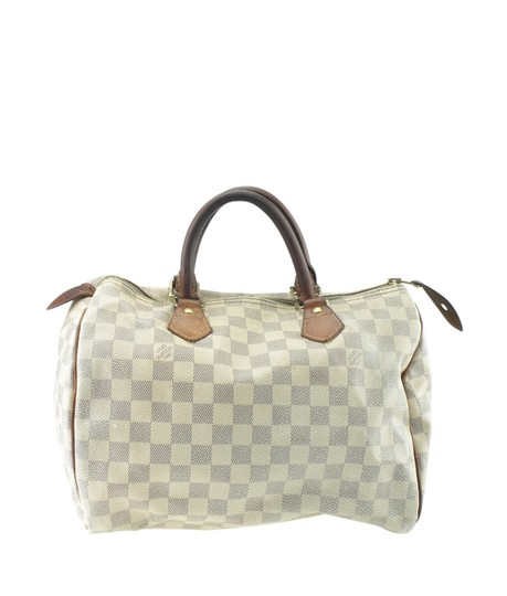 Louis Vuitton White/Blue Coated Canvas Satchel in White/Blue Image 4