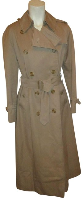 Item - Tan/Khaki Vintage Belted Double Breasted Coat Size 4 (S)