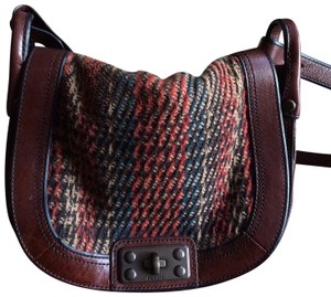 Fossil Tobacco Brown Leather with Plaid Wool Blend Fabric Messenger Bag