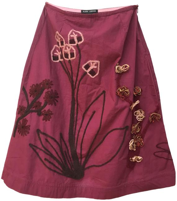 Item - Wine Cotton Floral Skirt Size 8 (M, 29, 30)
