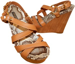 366a39c948 Louis Vuitton Platform Wood Strappy Leather Brown Wedges