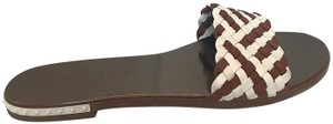Jimmy Choo Slides Woven Studded brown and white Sandals