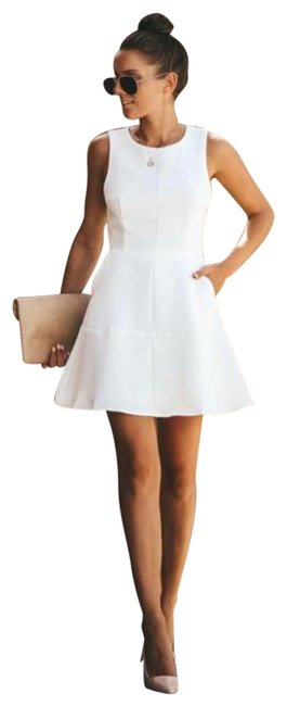Item - White Hopelessly Devoted Pocketed Short Casual Dress Size 4 (S)
