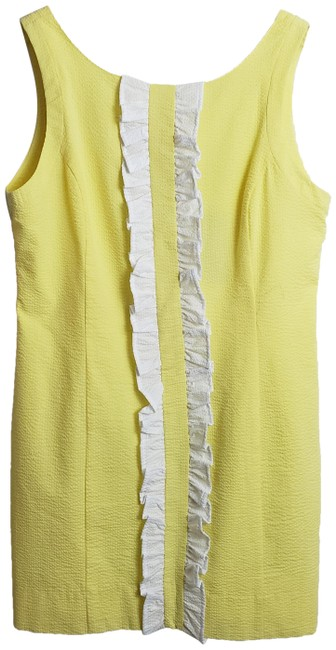 Item - Yellow and White Bailey Solid Seersucker Large Short Casual Dress Size 12 (L)