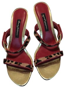 Beverly Feldman red, leopard and gold Mules