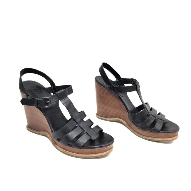 Item - Black Strappy Leather Sandals Wedges Size US 9.5 Regular (M, B)