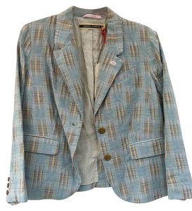Daughters of the Liberation Cotton Longsleeve Lined Never Worn Light Blue Plaid Blazer