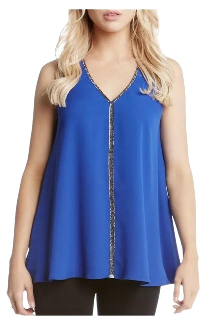 Karen Kane Royal Blue Stunning with Sparkling Trim Top. Blouse Size 8 (M) Karen Kane Royal Blue Stunning with Sparkling Trim Top. Blouse Size 8 (M) Image 1