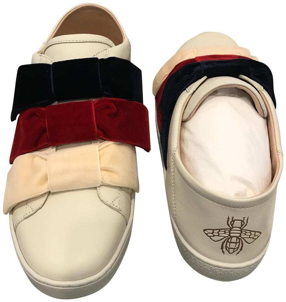 337aec34c Gucci Ivory/White New Ace Leather & Velvet Bow Sneakers Size US 9.5 ...