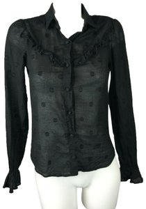 b035001a Reformation Blouse Polka Dot Button Down Shirt Black