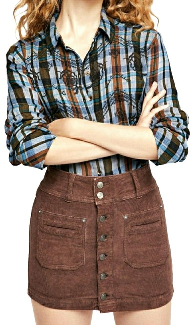 Item - Brown Button Up Corduroy Skirt Size 4 (S, 27)