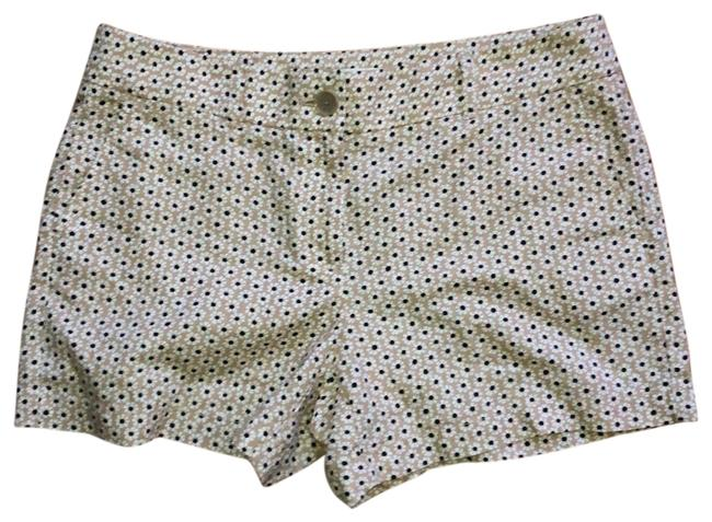 Item - Tan with Black and White Cotton/Linen Blend Flowered Shorts Size 6 (S, 28)