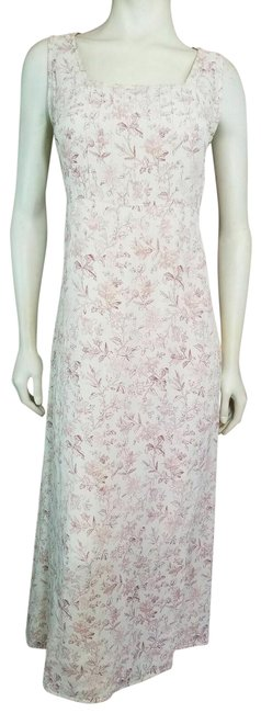 Item - Cream Pink and Mauve Floral Print Sleeveless Pleated Long Casual Maxi Dress Size 6 (S)