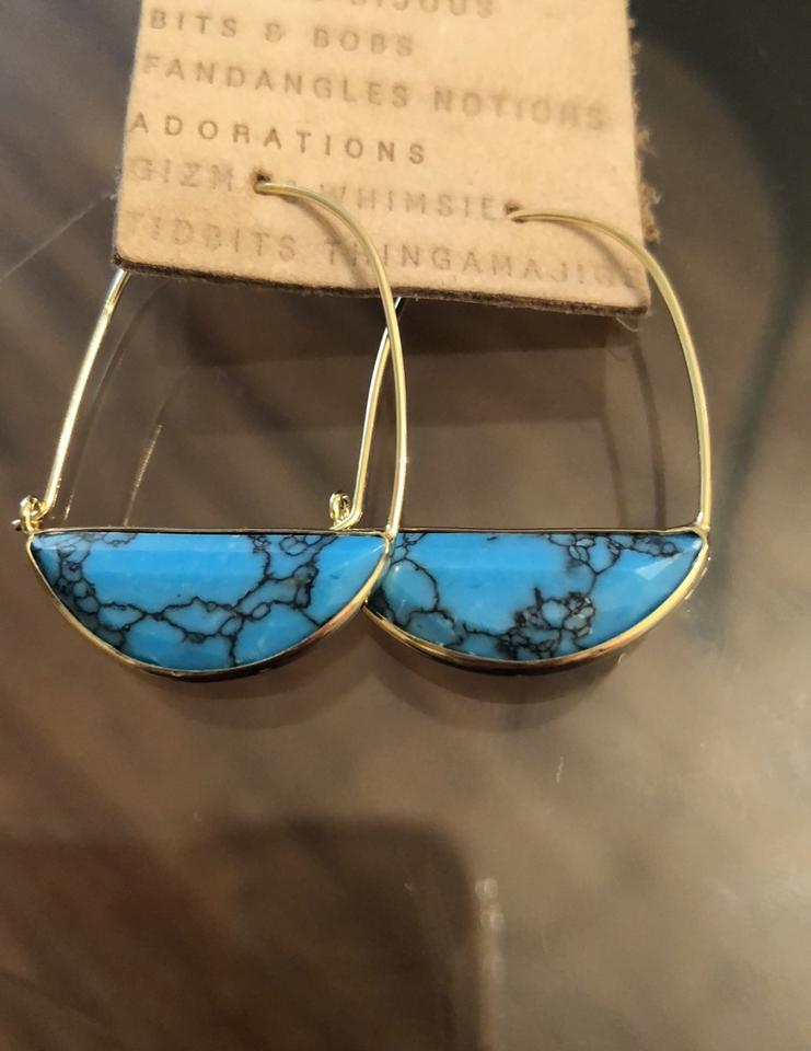 d29683a996088c Anthropologie Turquoise Small Half Hoops Earrings - Tradesy