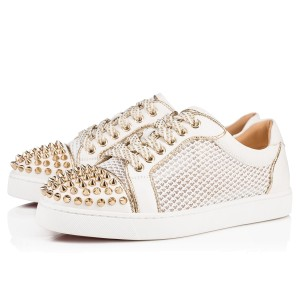 Christian Louboutin Studded Lace Latte White Athletic