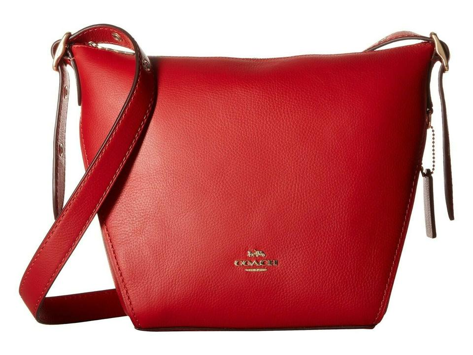 online store terrific value super popular Coach Duffle Shoulder Small Dufflette 21377 Jasper Red/Gold Leather Cross  Body Bag 40% off retail