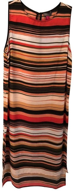 Item - Black Coral Orange Olive XS New Multicolor Stripe Sleeveless Mid-length Cocktail Dress Size 2 (XS)