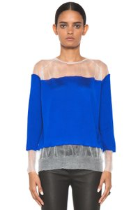Stella McCartney Silk Sheer Transparent Lightweight Top Blue
