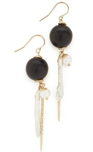 Alexis Bittar NEW Elements Pearl Cluster Wood Pavé Spike Wire Earrings