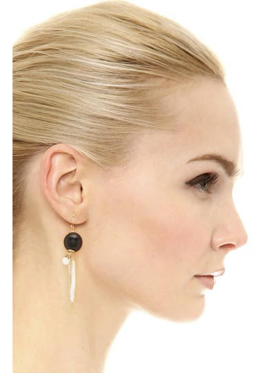 Alexis Bittar NEW Elements Pearl Cluster Wood Pavé Spike Wire Earrings Image 1