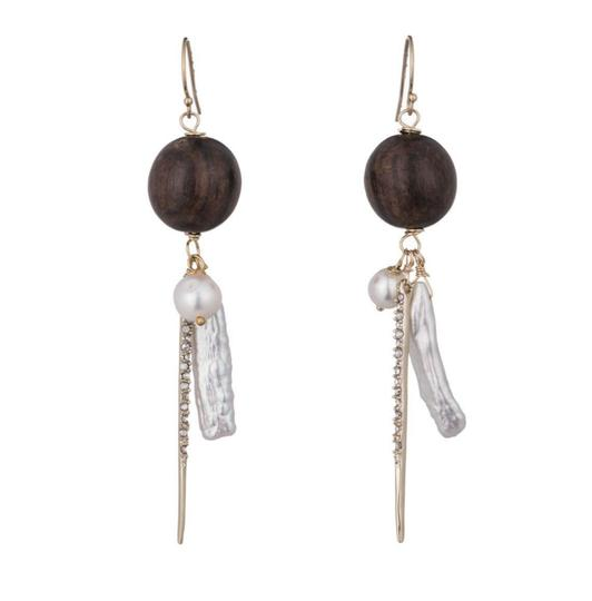 Alexis Bittar NEW Elements Pearl Cluster Wood Pavé Spike Wire Earrings Image 2