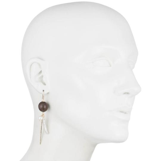 Alexis Bittar NEW Elements Pearl Cluster Wood Pavé Spike Wire Earrings Image 3