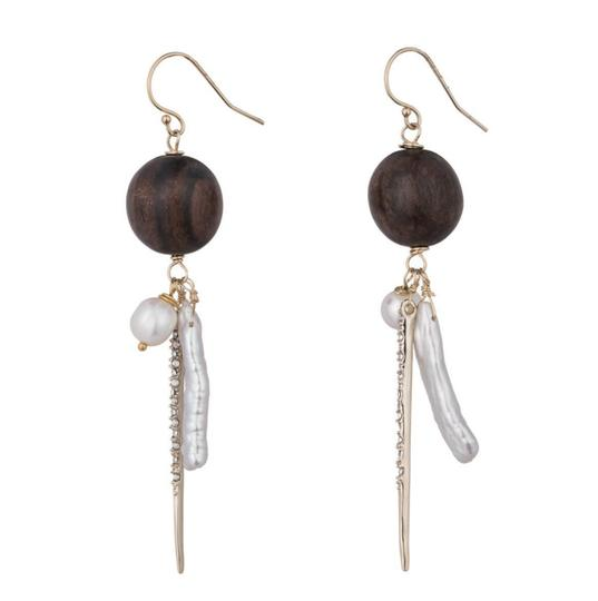 Alexis Bittar NEW Elements Pearl Cluster Wood Pavé Spike Wire Earrings Image 6