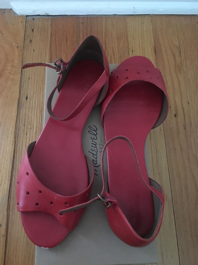 Madewell Flats Holepunch Anklestrap Siberian Red Sandals Image 1
