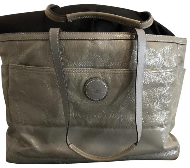 Coach Gray Leather Diaper Bag Coach Gray Leather Diaper Bag Image 1