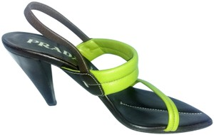 Prada Vintage Strappy 90's Electric yellow/ green Sandals
