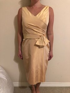 B2 Pale Gold Yellow Traditional Bridesmaid/Mob Dress Size 6 (S)