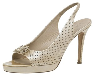 Chanel Leather Embellished Slingback Beige Sandals