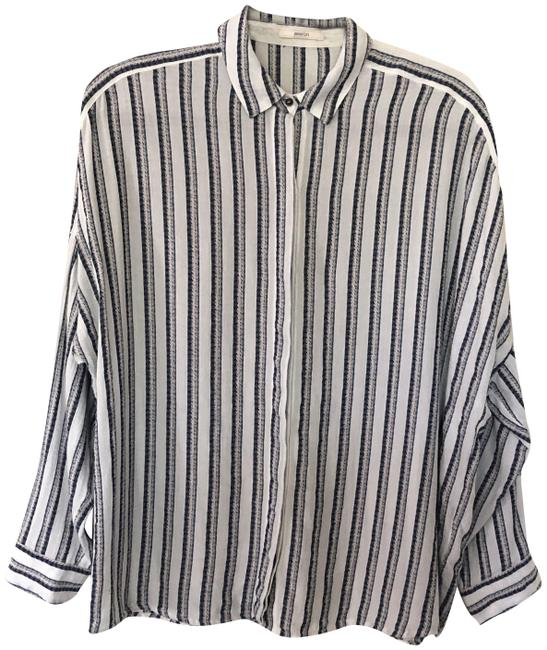 Item - Blue and White Striped Button-down Top Size 8 (M)