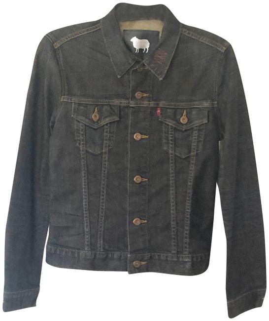 Item - Black Capital E Slim Trucker Jacket Size 8 (M)