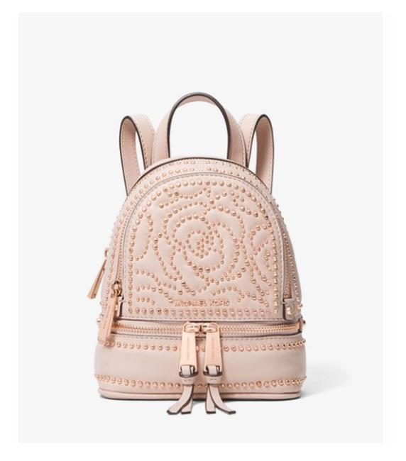 Item - Rhea Mini Rose Studded Convertible Soft Pink Leather Backpack