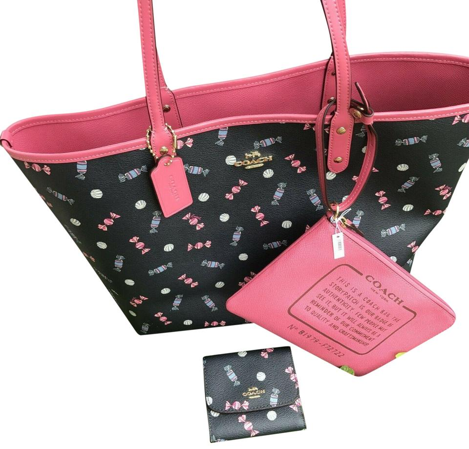 38fb8ed2 Coach Bag Candy City Reversible Scattered Print Set with Wallet Navy Pink  Pvc Tote